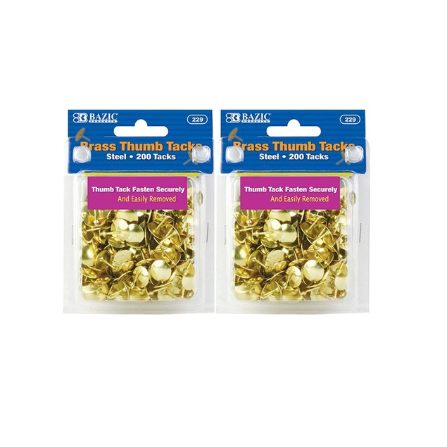 Brass Thumb Tack, Gold, 200 Per Pack, 2 Pack (400 tacks)