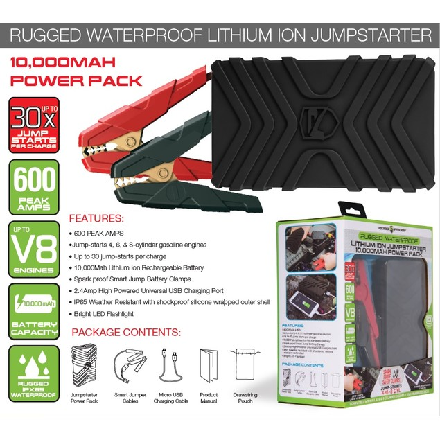 10,000 mAH Rugged Waterproof Lithium Ion Jump Starter & Portable Charger