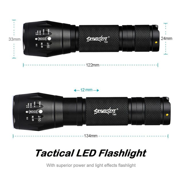 Tactical T6 Zoomable LED Flashlight with Battery & Charger