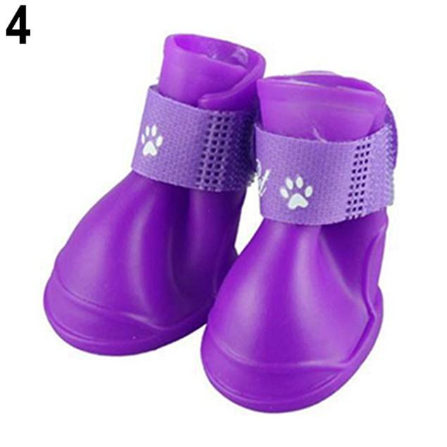 4Pcs/Set Waterproof Anti-Slip Protective Rain Boots Shoes For Pets