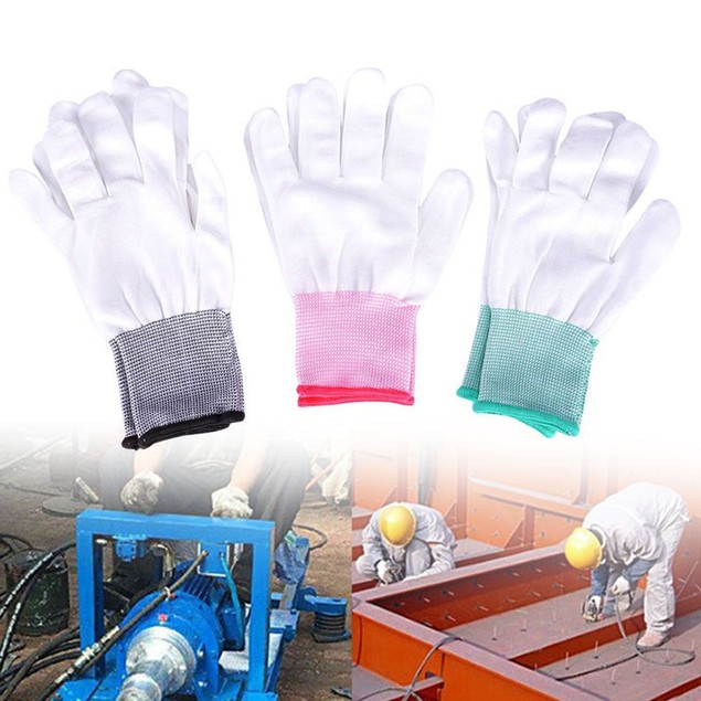 2 Pairs Nylon Anti-static Factory Working Gloves Finger Protection