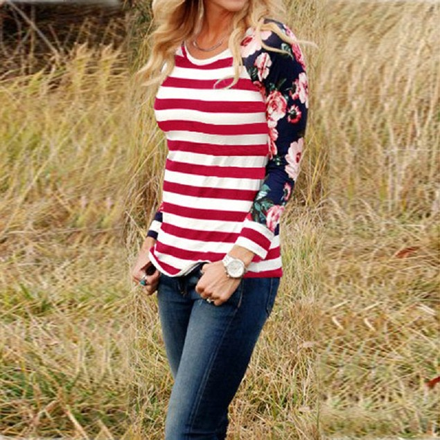 Long Sleeve Stripe Floral Blouse
