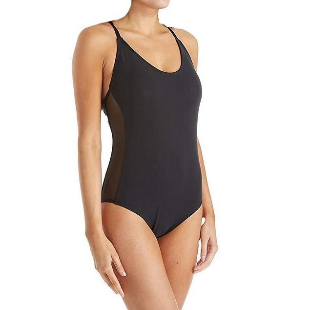 Jantzen Women's Mesh Solids Strappy Back One Piece Swimsuit, Black,  S
