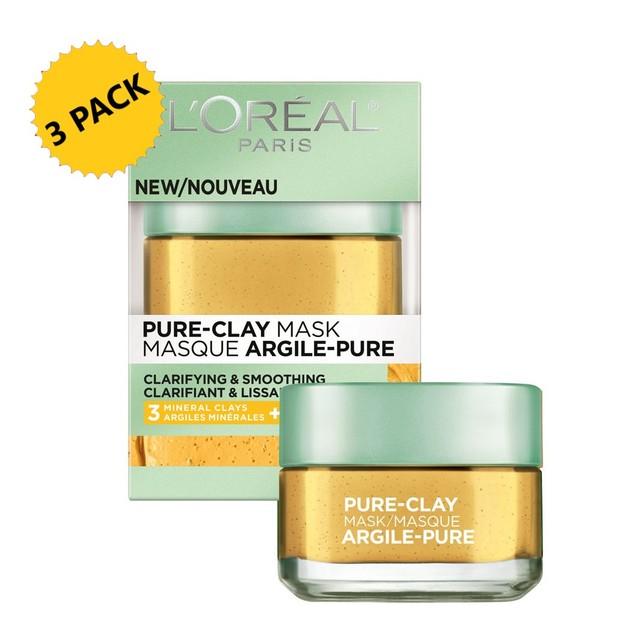 3-PACK L'Oréal Paris Skincare Pure-Clay Face Mask w/ Yuzu Lemon, 1.7 oz. ea