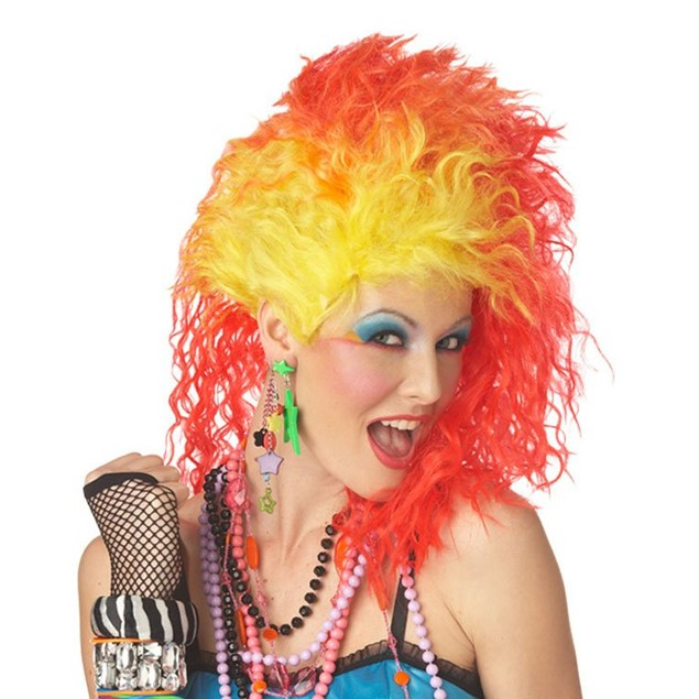 True Colors Wig Adult Costume Cyndi Lauper 80's Pop Singer Glam Punk Neon