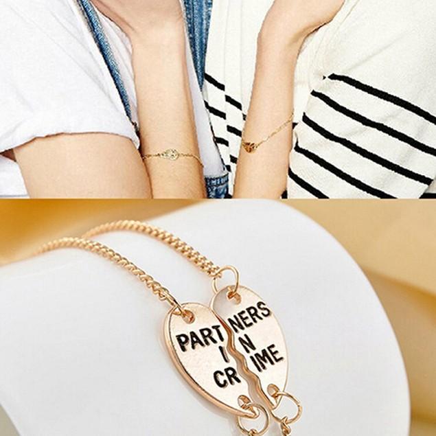 1 Pair Women Split Heart Pendant Bracelet