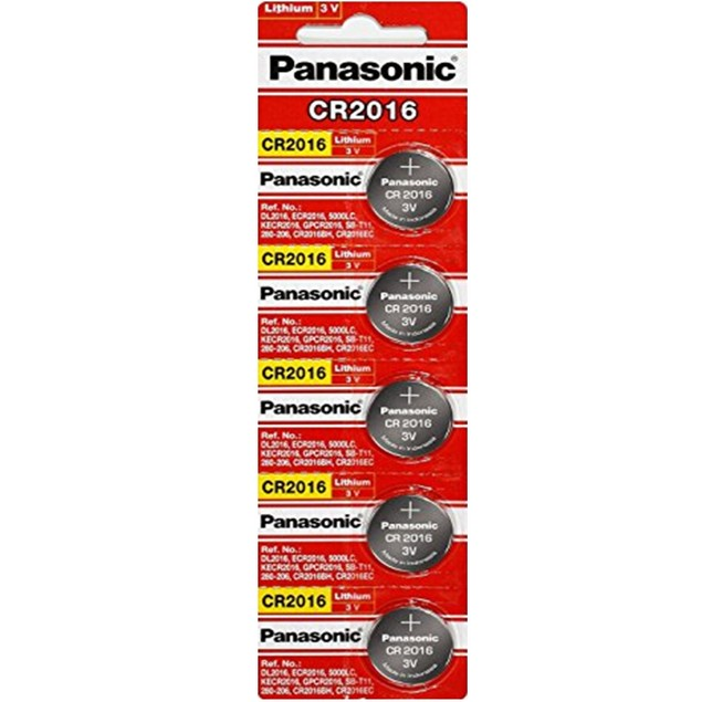 Panasonic CR2016 3-Volt Lithium Coin Cell Batteries (5 Batteries)