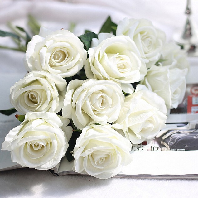 5Pc Artificial Fake Roses Flannel Flower Bridal Wedding Party Home Decor