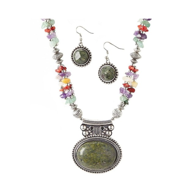 Novadab Jasper Pendant Multicolored Stones Necklace and Earrings