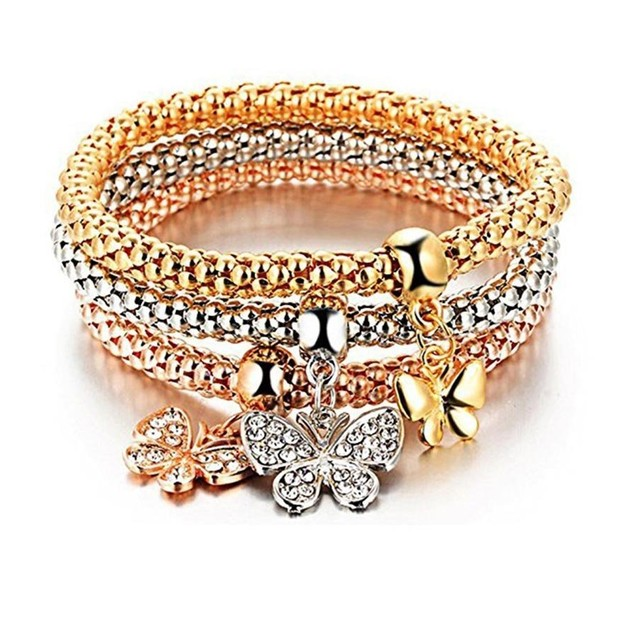 Novadab Fly With Love Butterfly Three Charms Bracelet Set For Women