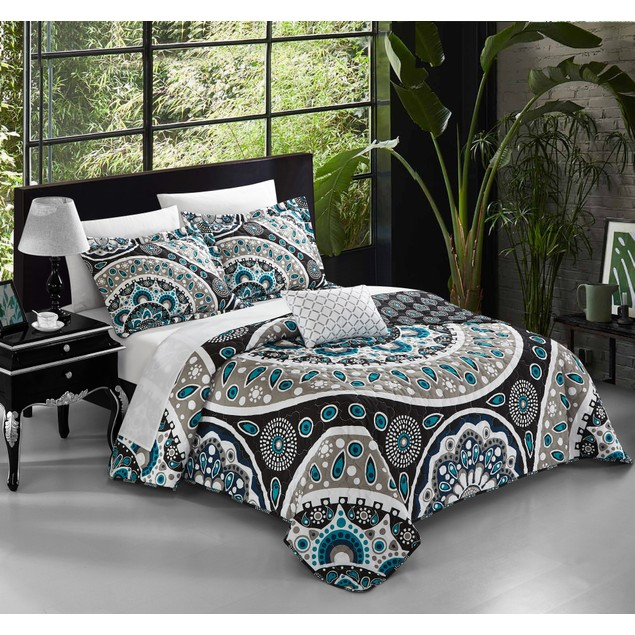 Chic Home 4 Piece Cordoba Paisley Print REVERSIBLE Quilt Cover Set