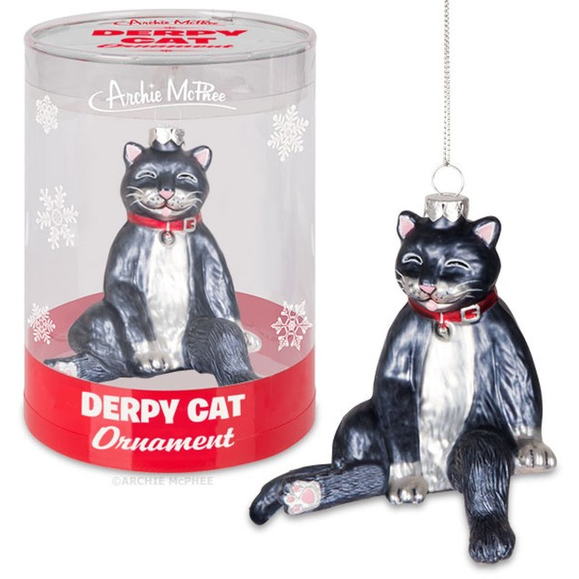 Derpy Cat Ornament Christmas Tree Accessory Glass Kitty Acetate Tube