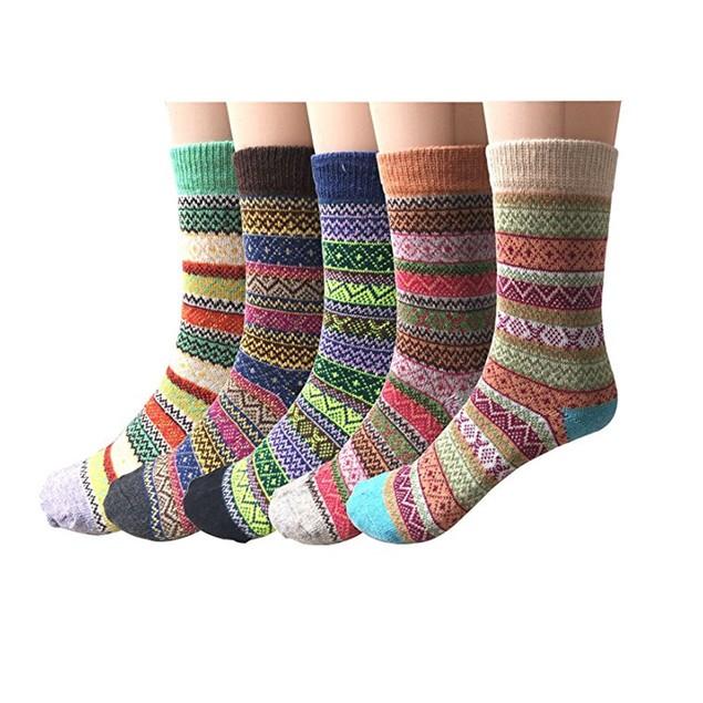 5 Pairs Womens Knit Printed Warm Wool Socks