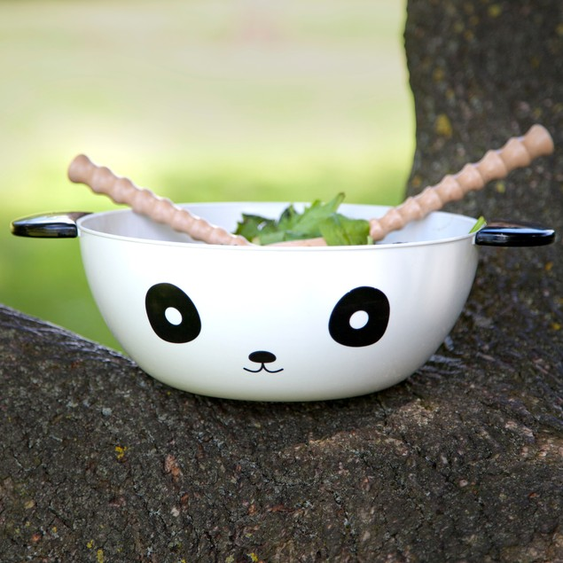 Panda Bowl With Utensils Thumbs Up Kitchen Salad Serving Bamboo Novelty