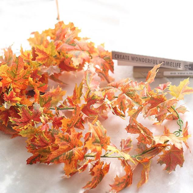 Artificial Fake Leaf Maple Leaf Long Rattan Simulation Leaves Home Decor