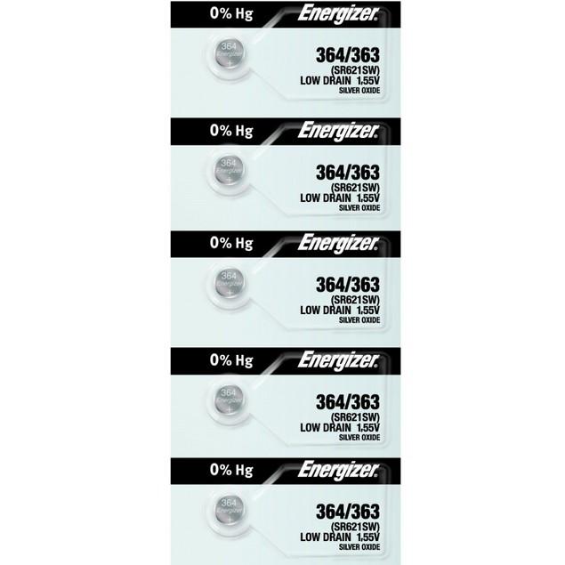 Energizer 364/363 (SR621/W/SW) Silver Oxide Watch Batteries (5 Pack)