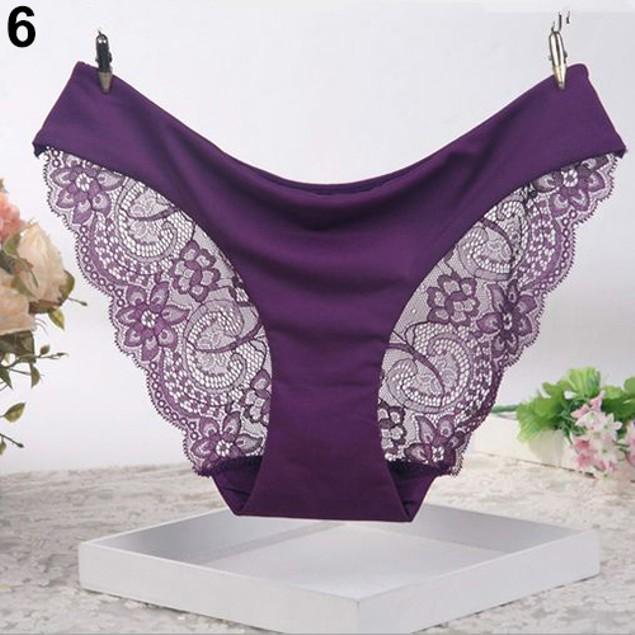 Women Sexy Lace G-string Soft Low Waist Briefs