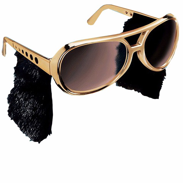 Elvis Presley Gold Sunglasses With Sideburns