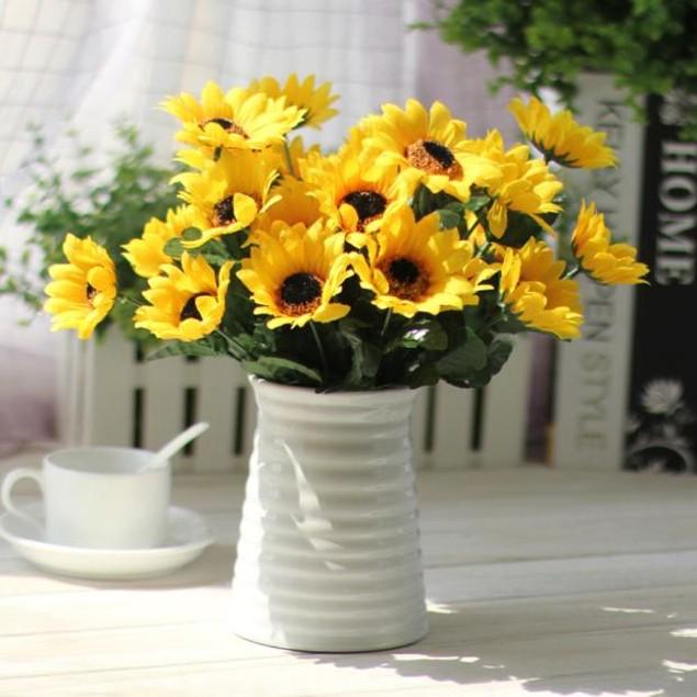 14 Heads Sunflower Flower Bouquet Floral Garden Home Decor