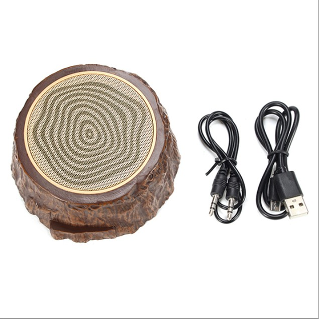 Outdoor Protable Mini Speaker Hands-free Bluetooth Wooden Stump Mus