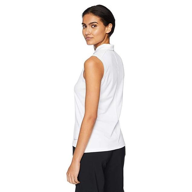 Nike Women's Dry Polo Sleeveless, White/Flight Silver, Large