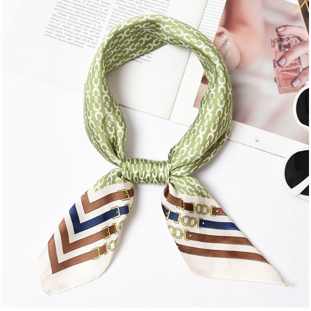 Square Silk Scarf/ Neckerchief/ Bandana - [Elegence Green]