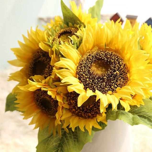 Silk Artificial 7 Heads Sunflower Flower Bouquet