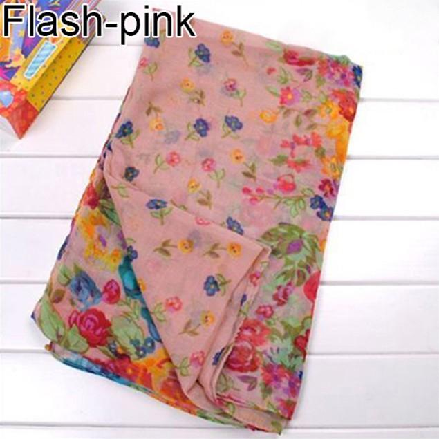 Fashion Women Flower Floral Print Soft Long Wrap Scarf