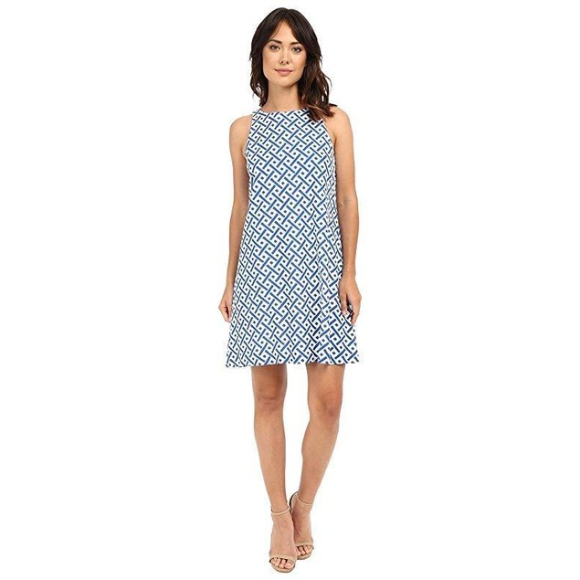 Christin Michaels Women's Shay Linen Dress Blue/Ivory Dress 10
