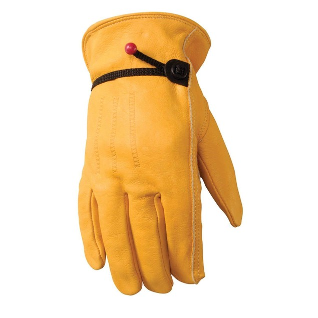 Leather Work Gloves With Ball And Tape Wrist Closure.