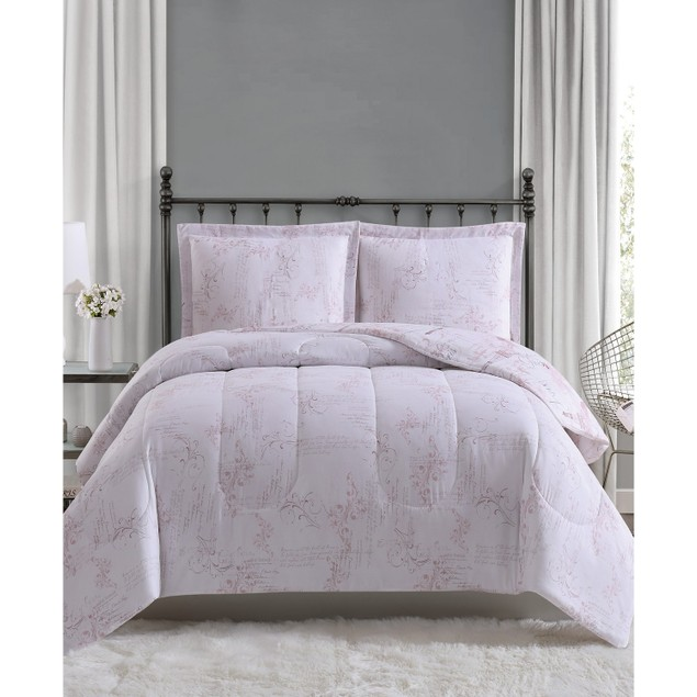 Pem America Paris 2 Pc Comforter Mini Set, Featuring Blush Jacquard, Twin,