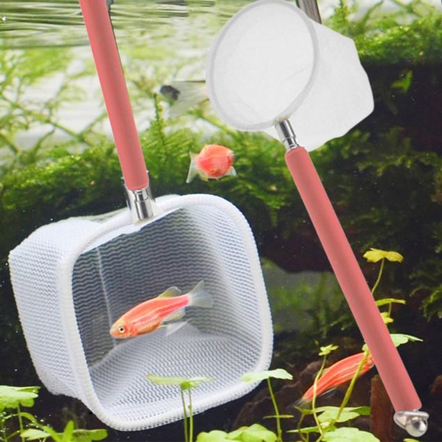 Aquarium Tank Fish Shrimp Skimming Net Mesh Extendable Handle