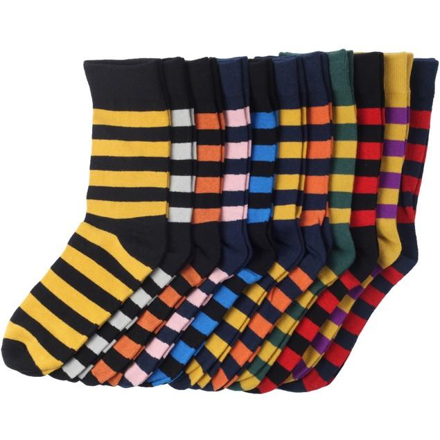 Jacob Alexander College Stripe Cotton Dress Socks