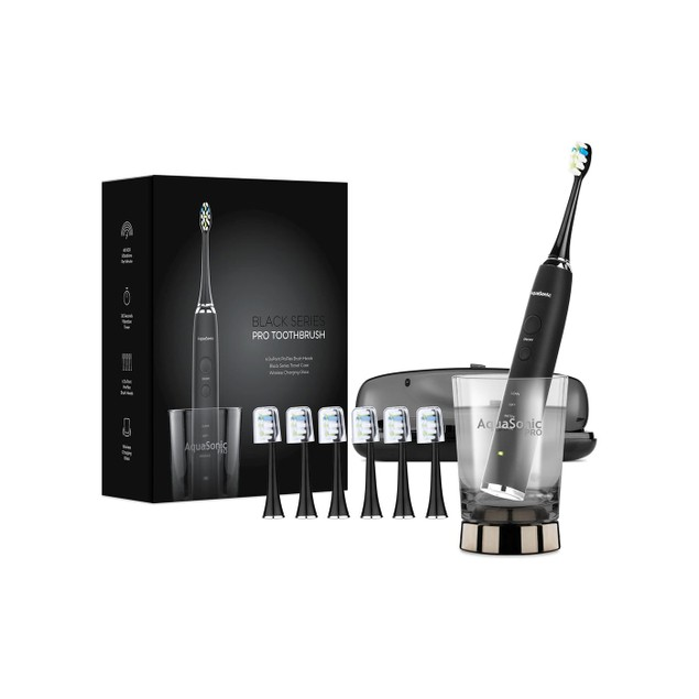 AquaSonicBlack Series PRO Ultra Whitening Rechargeable Electric Toothbrush