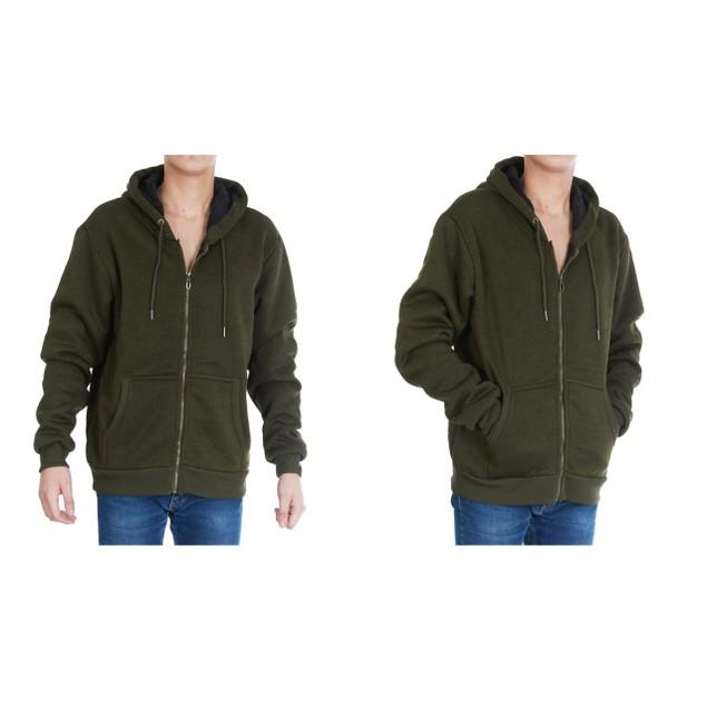 Men's Sherpa Lined Full Zip Marled Hoodie Jackets