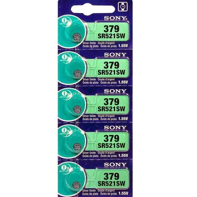 Sony 379 (SR521SW) 1.55-Volt Silver Oxide Watch Batteries (5 Pack)
