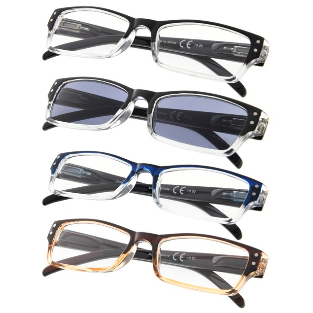 4-Pack Two-Tone Frame Reading Glasses Include Sun Readers
