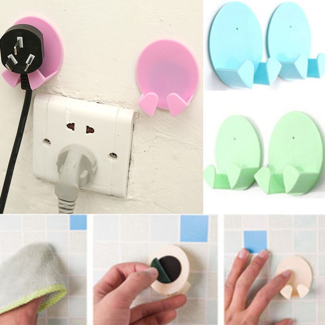 Wall Storage Hook Power Plug Socket Holder Wall Adhesive Hanger Home Office
