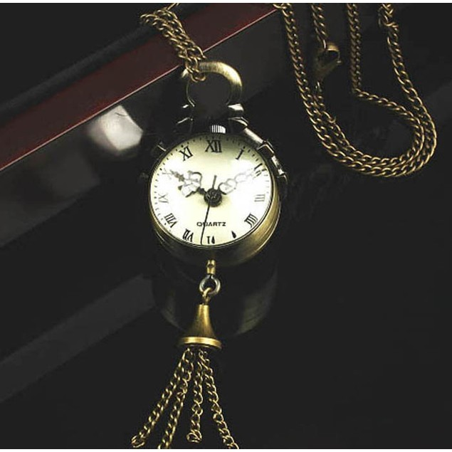 Clock Pendant Necklace with Tassel
