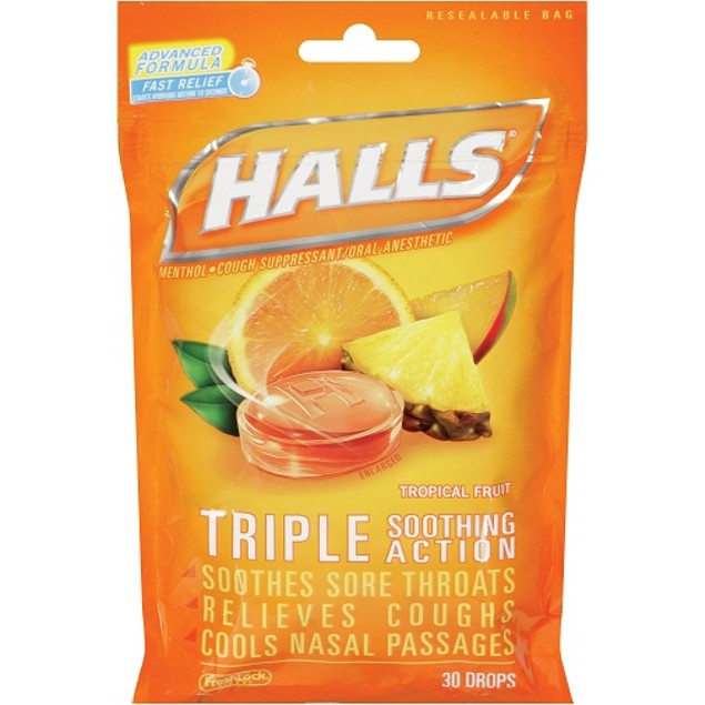 Halls Oral Anesthetic Drops Tropical Fruit