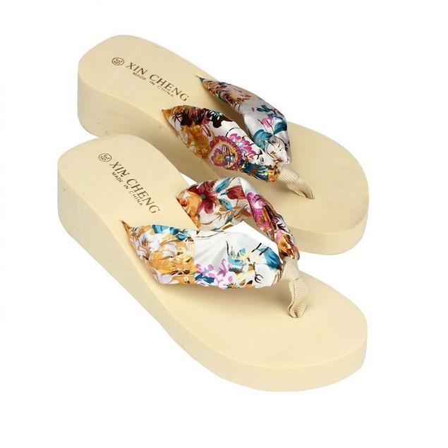 Bohemia Floral Beach Sandals Wedge Platform Thongs Slippers Flip Flops