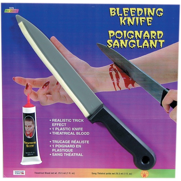 Bleeding Butcher Knife With Theatrical Blood Bloody Cut Rubies Horror Movie