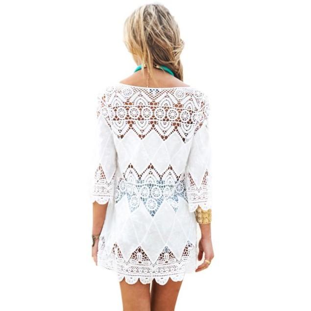 Lace Hollow Bikini Cover Up Swimwear Beach Dress Beach Sunscreen Shirt
