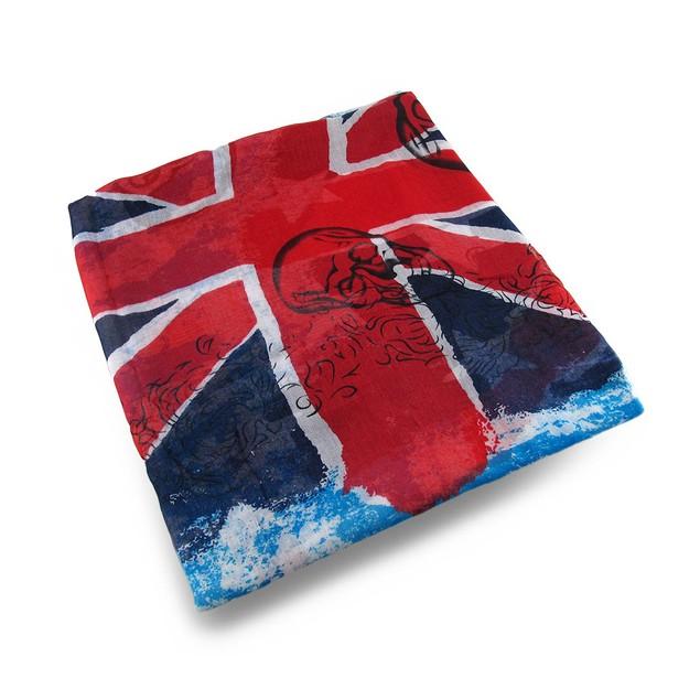 Vintage Style Uk Union Jack Flag And Skull Print Womens Fashion Scarves