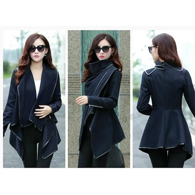 Stylish long sleeves solid color asymmetric trench wool coat