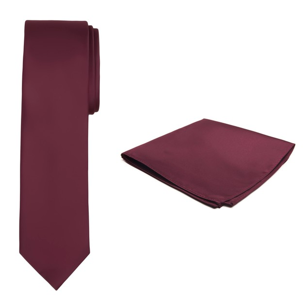 Jacob Alexander Solid Color Men's Slim Tie and Hanky Set