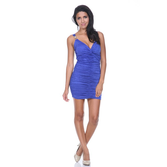 Ruched Mini Dress with Jewel Strap