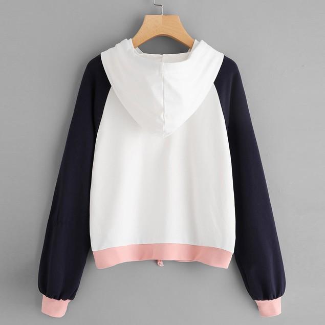 Womens Raglan Hoodie Sweatshirt Long Sleeve Pullover Tops Blouse