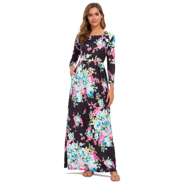Lilly Posh Long Sleeve Maxi Floral Dress