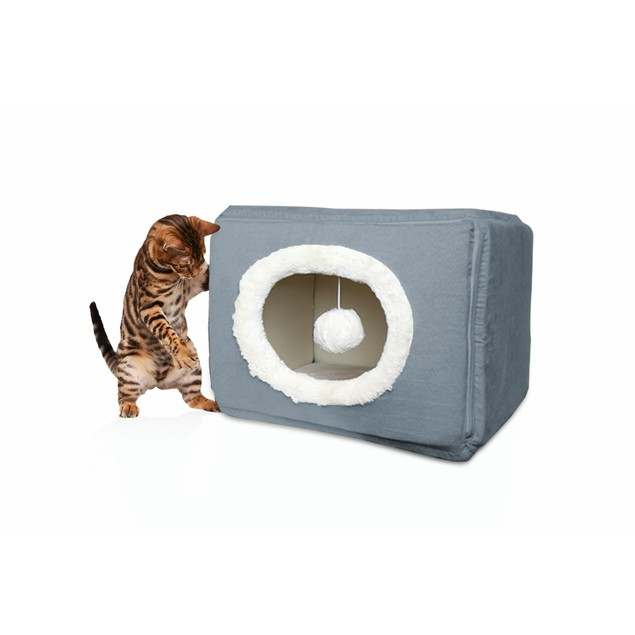 FurHaven Cozy Cube Pet Bed for Cats & Small Dogs